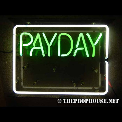 NEON409, NEON, SIGNAGE, LIGHTING, VINTAGE LAMP, SIGNS, LAMPS, LIGHTING, GLASS TUBING,PAYDAY ADVANCES, SIGN, GREEN, WHITE