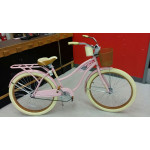Bicycle, 50's Style Bicycle, Bicycle with Fenders, Bicycle with Basket, Bicycle with Book Holder, Pink Bike, Pink Bicycle, Bike with white walls.