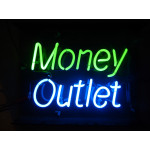 NEON407, NEON, SIGNAGE, LIGHTING, VINTAGE LAMP, SIGNS, LAMPS, LIGHTING, GLASS TUBING, MONEY OUTLET, SIGN, GREEN, BLUE