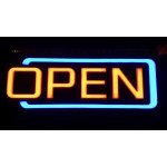 NEON506, NEON, SIGNAGE, LIGHTING, VINTAGE LAMP, SIGNS, LAMPS, LIGHTING, GLASS TUBING, OPEN SIGN, SIGN, BLUE, YELLOW, RED