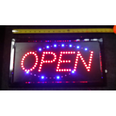 NEON508, NEON, SIGNAGE, LIGHTING, VINTAGE LAMP, SIGNS, LAMPS, LIGHTING, GLASS TUBING, OPEN SIGN, SIGN,BLUE, RED