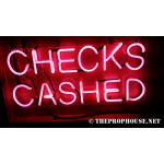 NEON404, NEON, SIGNAGE, LIGHTING, VINTAGE LAMP, SIGNS, LAMPS, LIGHTING, GLASS TUBING,CHECKS CASHED, SIGN, RED