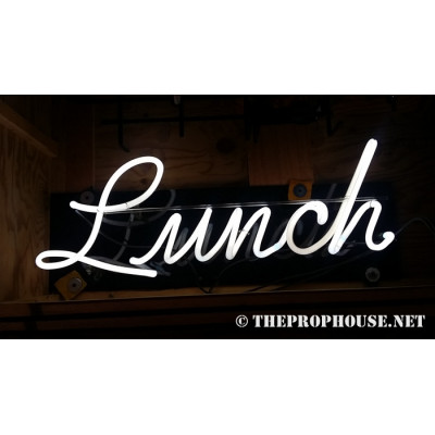 NEON209, NEON, SIGNAGE, LIGHTING, VINTAGE LAMP, SIGNS, LAMPS, LIGHTING, GLASS TUBING,LUNCH. CURSIVE,SIGN, WHITE