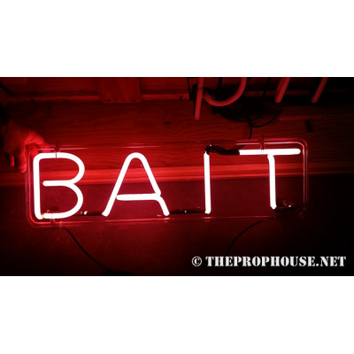 NEON402, NEON, SIGNAGE, LIGHTING, VINTAGE LAMP, SIGNS, LAMPS, LIGHTING, GLASS TUBING,BAIT,SIGN, RED