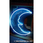 NEON609, NEON, SIGNAGE, LIGHTING, VINTAGE LAMP, SIGNS, LAMPS, LIGHTING, GLASS TUBING,MOON,SIGN, BLUE