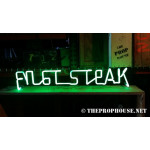 NEON207, NEON, SIGNAGE, LIGHTING, VINTAGE LAMP, SIGNS, LAMPS, LIGHTING, GLASS TUBING, STEAK,SIGN, GREEN