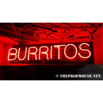 NEON294, NEON, SIGNAGE, LIGHTING, VINTAGE LAMP, SIGNS, LAMPS, LIGHTING, GLASS TUBING, BURRITOS,SIGN, RED
