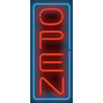 NEON502, NEON, SIGNAGE, LIGHTING, VINTAGE LAMP, SIGNS, LAMPS, LIGHTING, GLASS TUBING, OPEN SIGN, RED, BLUE, BLACK