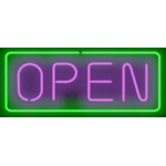 NEON503, NEON, SIGNAGE, LIGHTING, VINTAGE LAMP, SIGNS, LAMPS, LIGHTING, GLASS TUBING, OPEN SIGN, HORIZONTAL, PURPLE, GREEN, BLACK