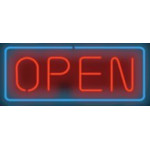 NEON501, NEON, SIGNAGE, LIGHTING, VINTAGE LAMP, SIGNS, LAMPS, LIGHTING, GLASS TUBING, OPEN SIGN, HORIZONTAL SIGN, RED, BLUE, BLACK WITH TRANSFORMER