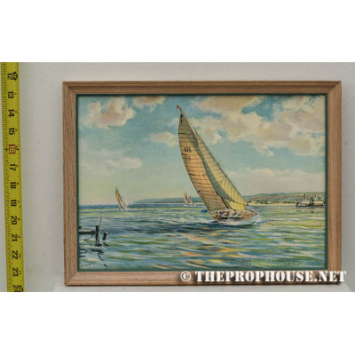 PAINTING13, PAINTING, SAILBOAT ON BAY, WOODEN FRAME, DECORATIVE, FURNISHING