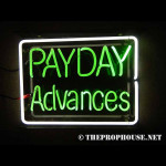 NEON408, NEON, SIGNAGE, LIGHTING, VINTAGE LAMP, SIGNS, LAMPS, LIGHTING, GLASS TUBING,PAYDAY ADVANCES, SIGN, GREEN, WHITE