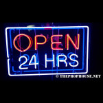 NEON510, NEON, SIGNAGE, LIGHTING, VINTAGE LAMP, SIGNS, LAMPS, LIGHTING, GLASS TUBING,OPEN 24-HOURS SIGN, RED, BLUE, WHITE