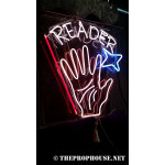 NEON411, NEON, SIGNAGE, LIGHTING, VINTAGE LAMP, SIGNS, LAMPS, LIGHTING, GLASS TUBING,PALM READER SIGN, RED, BLUE, WHITE