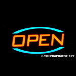 NEON507, NON-NEON, SIGNAGE, LIGHTING, VINTAGE LAMP, SIGNS, LAMPS, LIGHTING, GLASS TUBING, OPEN SIGN, SIGN, BLUE, YELLOW