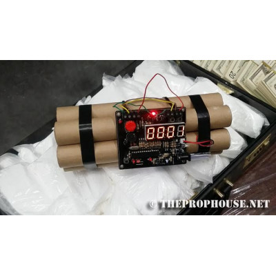 Bomb with timer, explosives, dynamite