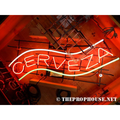 NEON303, NEON, SIGNAGE, CERVEZA, LIGHTING, VINTAGE LAMP, SIGNS, LAMPS, LIGHTING, GLASS TUBING