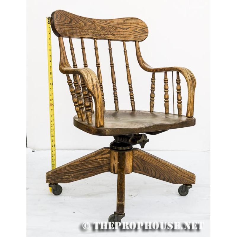Rolling Wooden Arm Chair Desk Chair Home Den Desk Chair Office Chair Wood Chair Wooden Chair